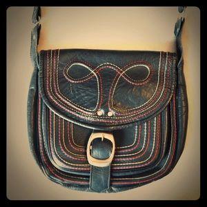 Vtg 70s Leather Crossbody Shoulder Bag